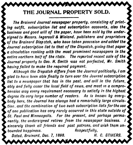 Henry C. Stivers announces the sale of his Weekly Journal newspaper to