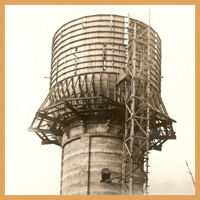 The Brainerd, MN water tower during construction.